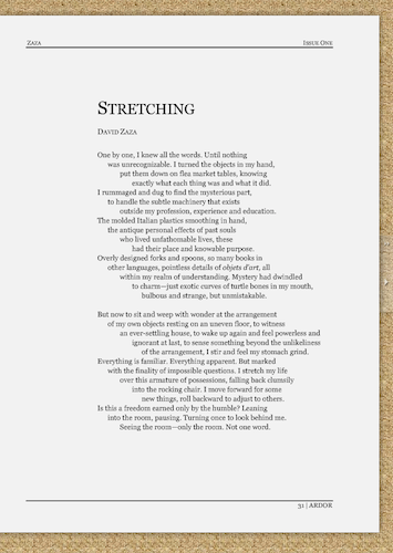 Stretching, as published in Ardor Literary Magazine